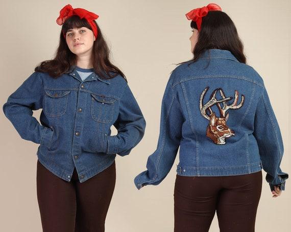 80s DEER PATCH jacket L XL / blue jean jacket deni