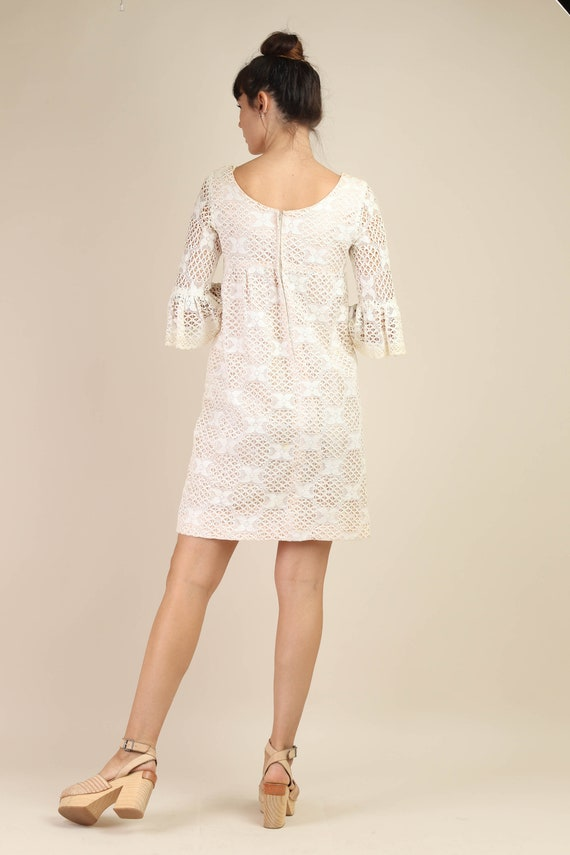 60s BELL SLEEVE dress S M / cotton lace dress flo… - image 7