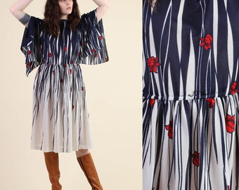 vintage 70s KIMONO SLEEVE empire half and half floral dress M L / striped novelty print floral sheer boho midi dress 1970s medium large