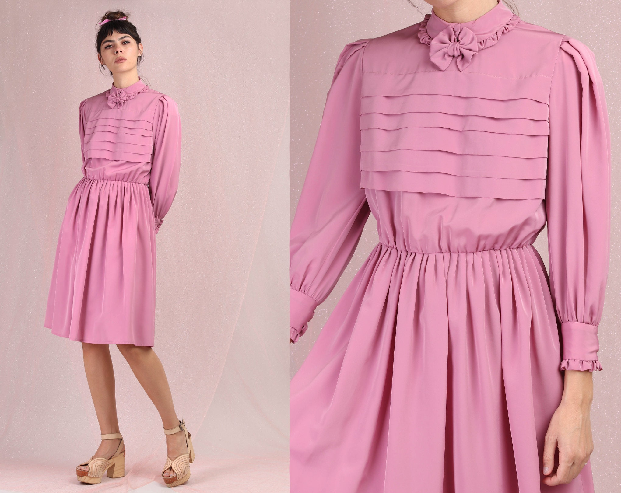80s Dresses | Casual to Party Dresses 80S Dusty Rose Dress S MBow Tie Collar Secretary Pleated Bodice Romantic Boho Midi Bishop Sleeve Small Medium 1980S $25.99 AT vintagedancer.com