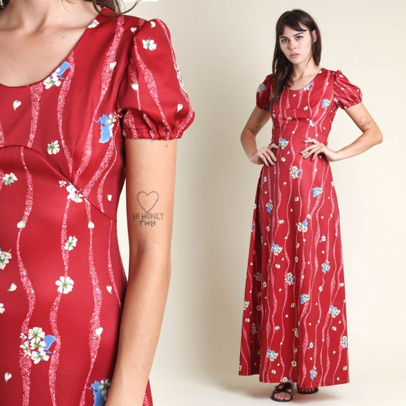 vintage 70s WINE RED empire FLORAL maxi dress size