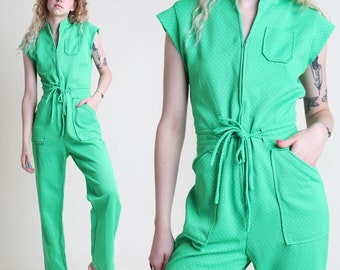 vintage 70s GREEN polka dot POCKET + JUMPSUIT size S M / front zip bell bottom pants mod hippie small medium 1970s 60s 1960s