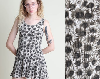 vintage 90s SUNFLOWER print RIBBED tank babydoll dress size XS / skater mini sun dress cyber y2k 1990s extra small