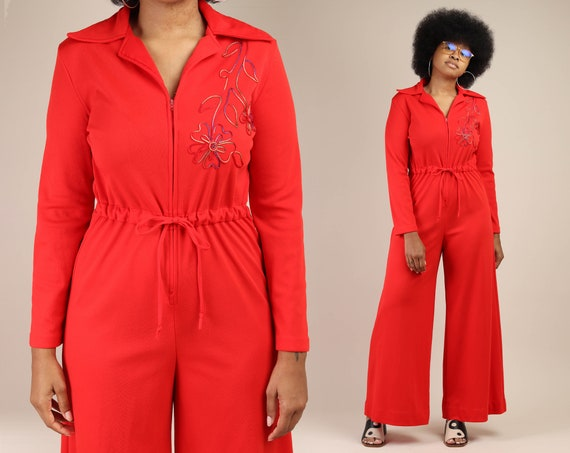 70s GROOVY RED jumpsuit M L / floral embroidered p