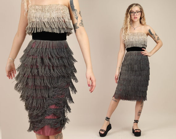 50s GRADIENT FRINGE dress XS / charcoal gray ombre