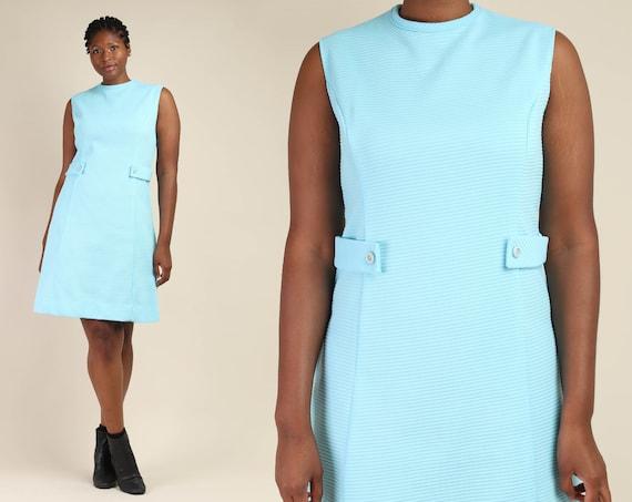 60s TEXTURED + MOD dress XL / aqua blue mod midi d