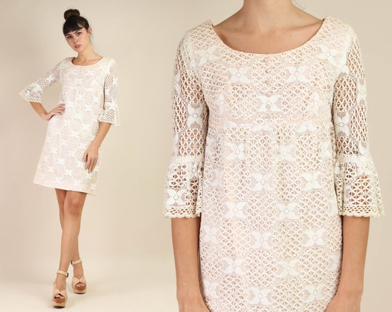 60s BELL SLEEVE dress S M / cotton lace dress flo… - image 1