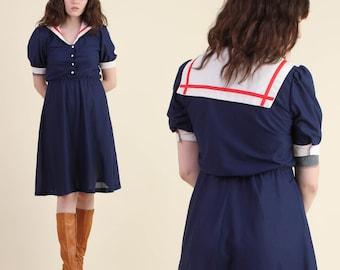 vintage 80s NAUTICAL navy SAILOR BIB dress S / collar secretary novelty mini dress 1980s small