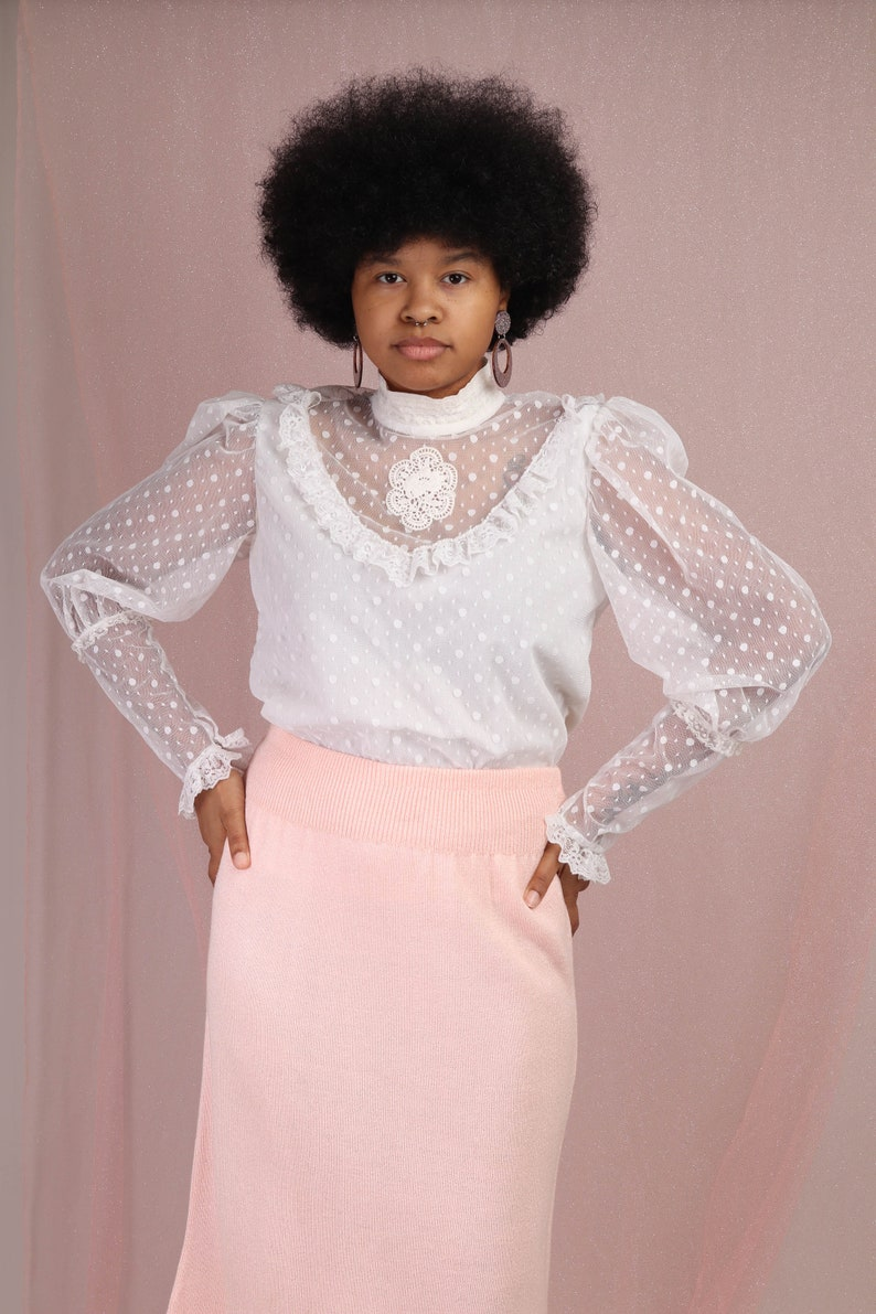 80s CAMEO VICTORIAN blouse M L  Juliet sleeve sheer lace top victorian lace bib shirt white lace romantic prairie blouse medium large 1980s