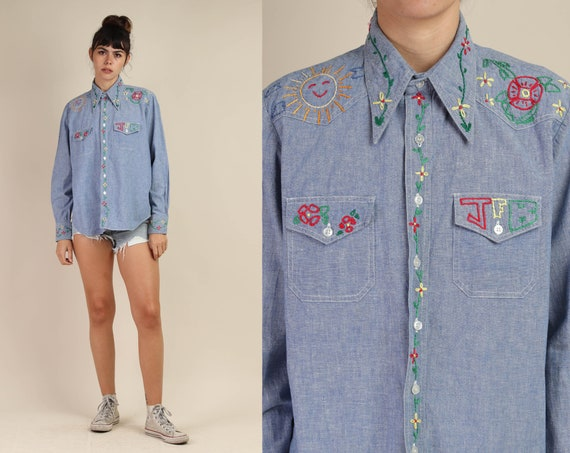 70s CHAMBRAY + EMBROIDERED shirt / button down den