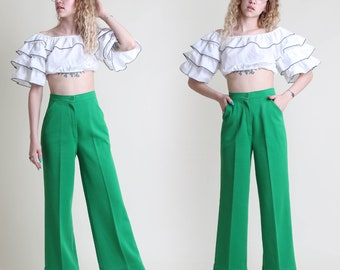 vintage 70s SHAMROCK GREEN knit TROUSERS size S 27 waist / high waist slacks pants hippie boho mod small 1970s