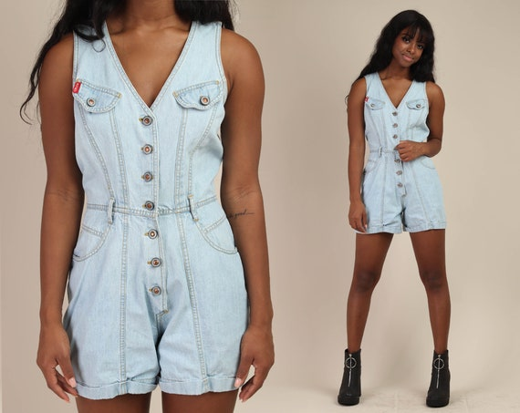 90s BLUE DENIM romper S M / button down jean rompe
