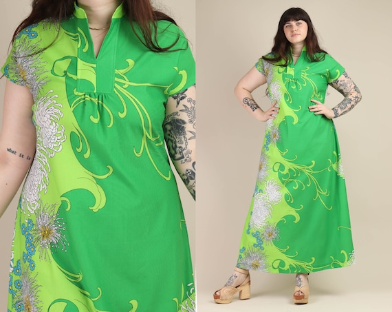 70s ASYMMETRIC PRINT dress L XL / green hawaiian p