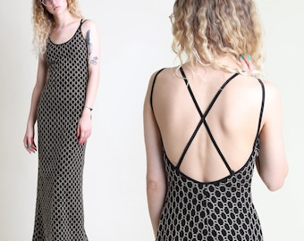 vintage 90s OPEN BACK strappy mesh lace tank dress extra small or small / stretchy backless simple basic maxi sun goth cyber y2k 1990s XS