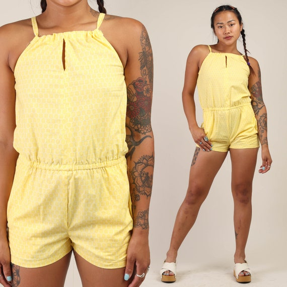 70s HONEYCOMB yellow romper XS / one piece cotton