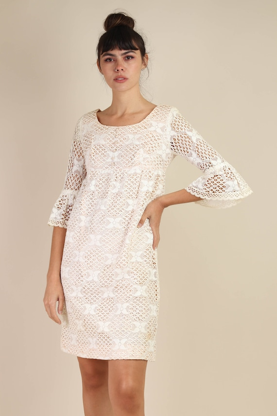 60s BELL SLEEVE dress S M / cotton lace dress flo… - image 3
