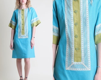 vintage 60s 70s TURQUOISE + CHARTREUSE linen dress size XS S / boxy sleeve lace shift tunic dress frock 1960s 1970s extra small or small