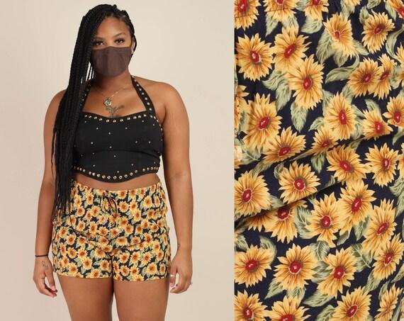 90s SUNFLOWER PRINT shorts M L / marigold floral p
