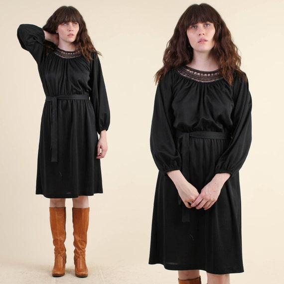 Vintage 70s Crochet Lace Black Grecian Dress Size M Goddess Etsy