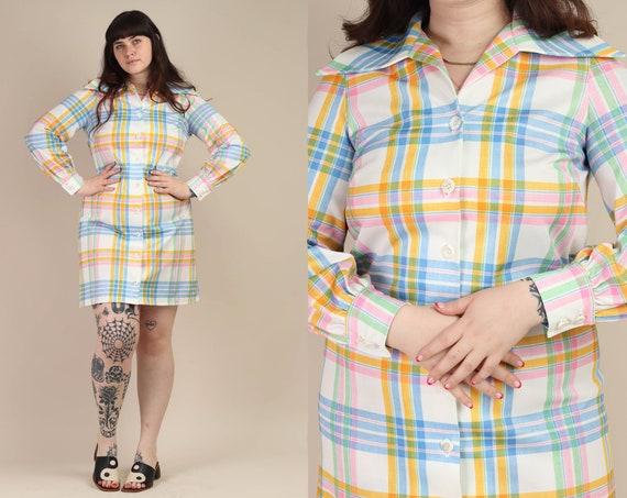 70s PASTEL RAINBOW dress L / rainbow plaid shirt d