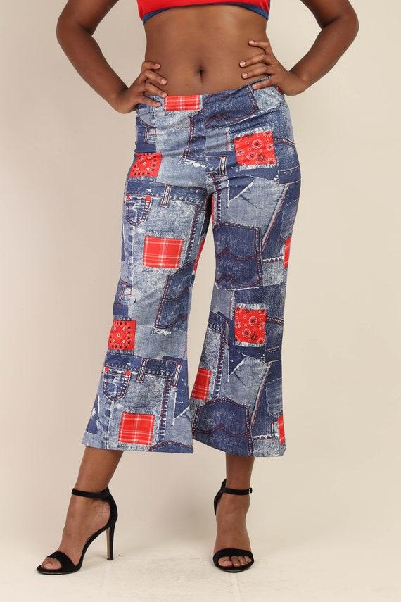 70s BANDANA + DENIM PRINT pants M L / novelty pri… - image 5