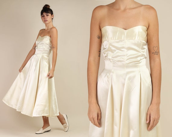 50s IVORY + SATIN dress / strapless fit and flare