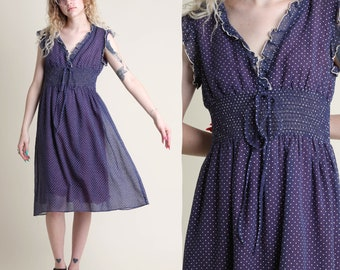vintage 70s SWISS DOT shirred RUFFLE trim dress size M / polka dot jc penney empire boho day midi sun dress 1970s medium