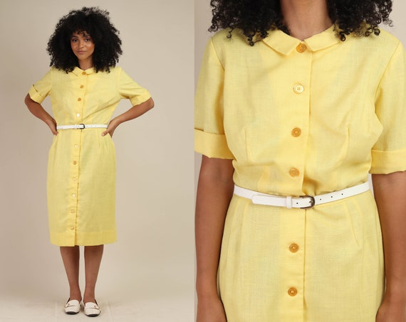 60s YELLOW L'AIGLON dress L / yellow linen dress h