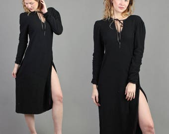 vintage 70s 80s YVES SAINT LAURENT ysl tricot knit dress size small S / black keyhole cut out high slit boho lounge midi dress 1970s 1980s