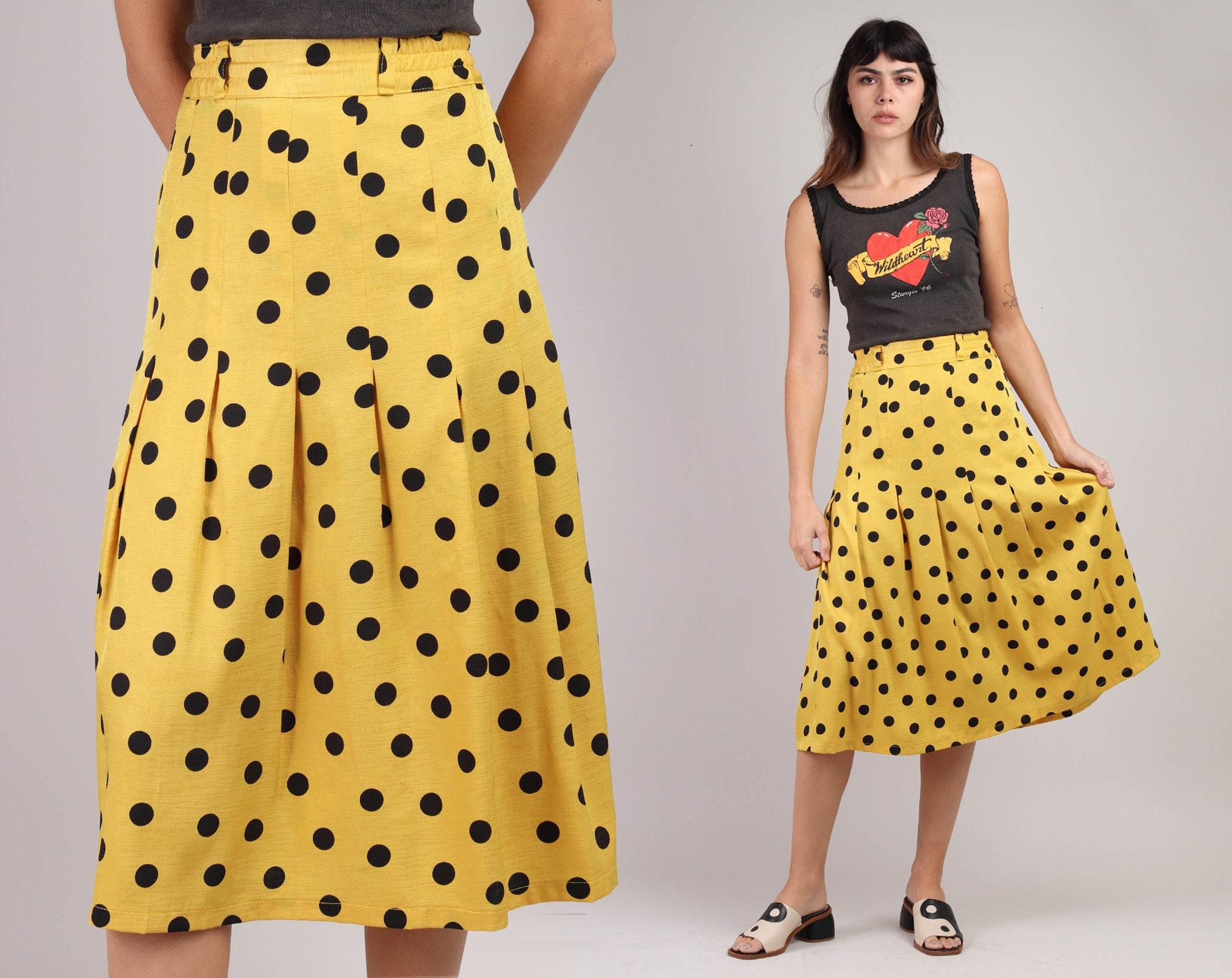 80s Dresses | Casual to Party Dresses 90S Yellow Polka Dot Skirt S MHigh Waist Pleated Midi Bumble Bee Black Polka Dot Knee Length Small Medium 1990S 80S 1980S $25.99 AT vintagedancer.com