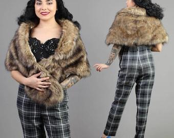 vintage 70s FAUX FOX FUR crystal shaggy stole wrap shawl glam hollywood wedding 1970s one size fits most