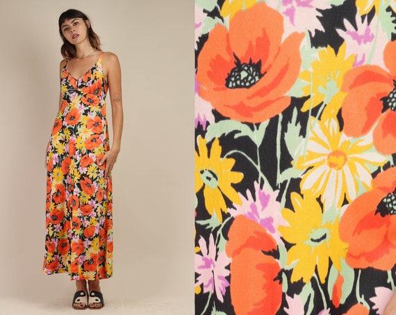 70s AUTUMN FLORAL dress S M / mod floral maxi dres