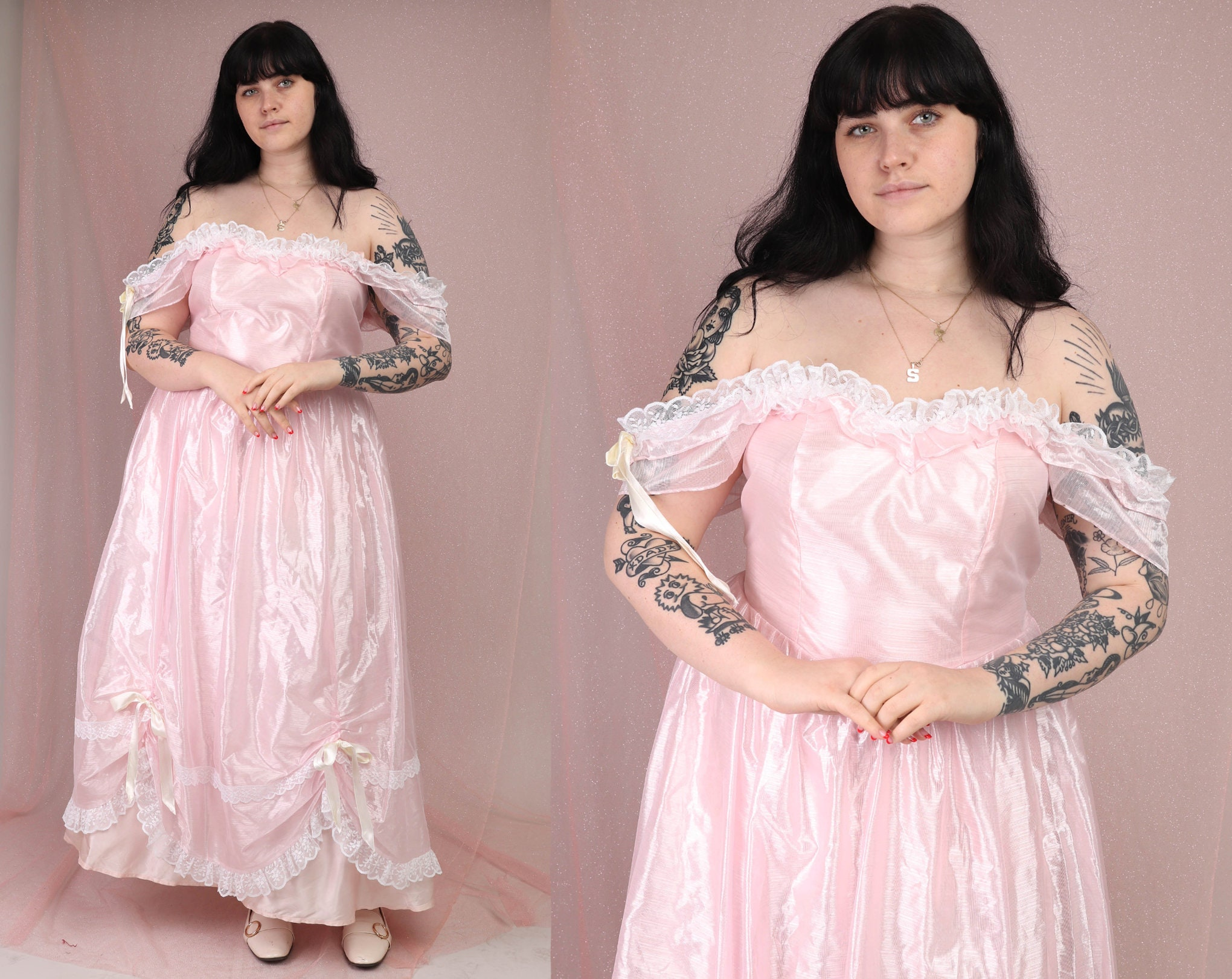 80s Dresses | Casual to Party Dresses 80S Pink Organza Dress XlRomantic Off The Shoulder Renaissance Formal Prom Cocktail Pink Satin Lace Extra Large 1980S $25.99 AT vintagedancer.com