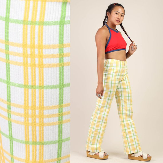 70s YELLOW + PLAID bell bottoms XS 25x28 / white s