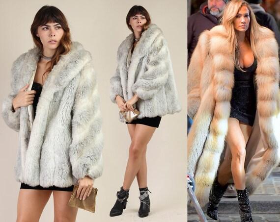 80s FAUX FUR coat / fake fox fur arctic saga swirl