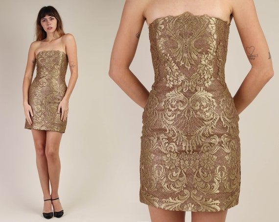 80s VICTOR COSTA + GOLD dress xs / scalloped lace