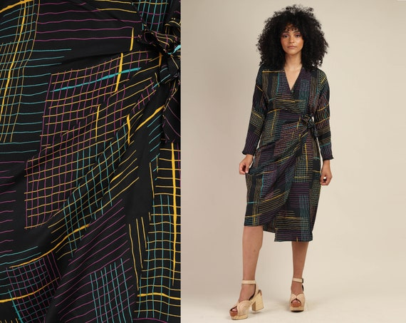 80s RAINBOW + GRAPHIC dress S M / black wrap dress