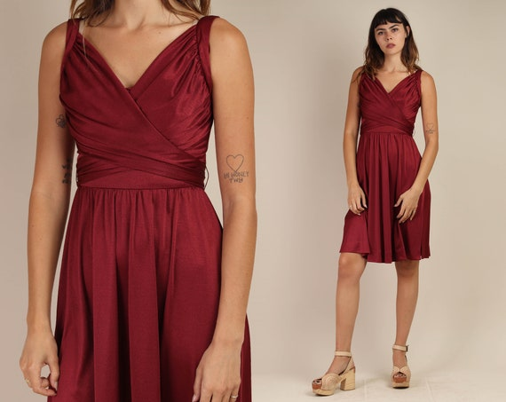 70s WINE RED dress S / wrap style bodice pleated m