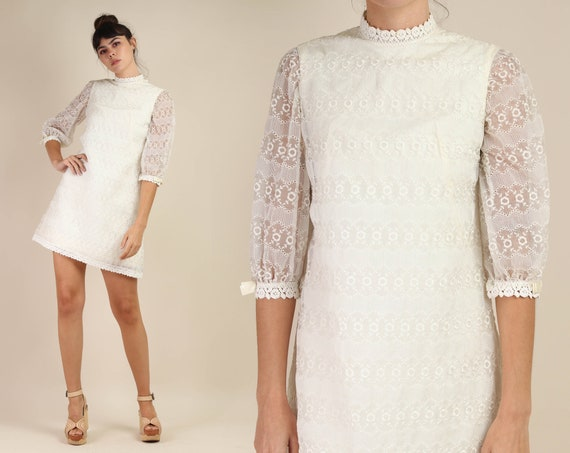 60s EMBROIDERED + MOD dress S / floral embroidered