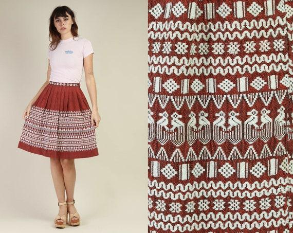 70s RUST + GUATEMALAN skirt XS / high waist skirt