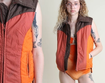 vintage 80s ORANGE + BROWN sleeveless SNOW ski vest size S / zip up puffer jacket coat striped S 1980s 1970s 70s