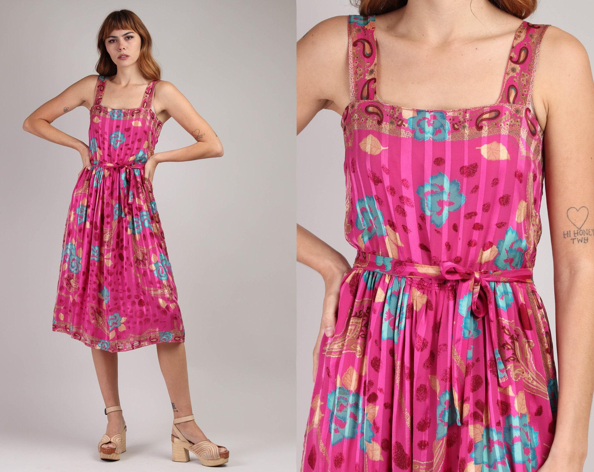 80s Dresses | Casual to Party Dresses 80S Botanical Silk Dress S MJacquard Silk Floral Border Print Tank Magenta Pink Midi Matching Small Medium 1980S $25.99 AT vintagedancer.com