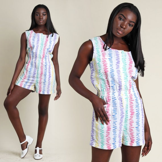 247ca31fc2c7 vintage 80s RAINBOW STRIPED one piece ROMPER size medium large