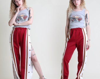 vintage 90s GOLD STRIPED tear away VARSITY pants size S / made in usa snap button track basketball sport pants small medium 1980s 1990s 80s
