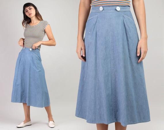 60s CHAMBRAY WRAP skirt XS / high waist lightweigh