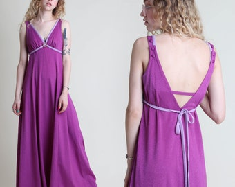 vintage 70s PURPLE empire SWIM bathing suit maxi dress size S M / sun grecian goddess hippie boho 1970s 60s 1960s