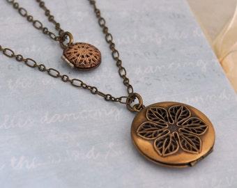 vintage filigree scent locket duo - antiqued brass locket necklace set of 2