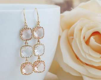 Peach and Clear White Glass Dangle Earrings Drop Earrings Wedding Bridesmaid Earrings Bridesmaid Jewelry Bridesmaid Gifts Christmas Gift