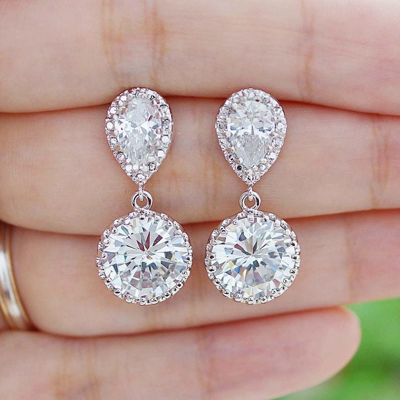 1aadfeeec Bridal Earrings Round Cubic Zirconia Drop Earrings Dangle | Etsy