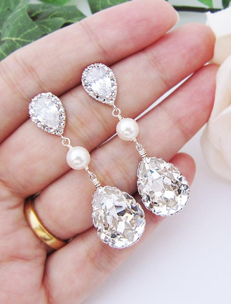 cdec57748 Bridal Earrings Swarovski Crystal with Pearl Drop Earrings | Etsy